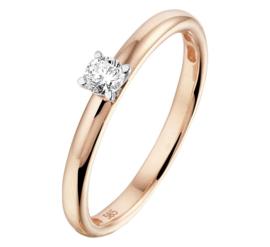 Roségouden Dames Ring met Witgouden Diamant Kopstuk