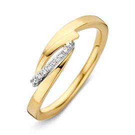 Excellent Jewelry Geelgouden Ring met Korte Diamanten Strook