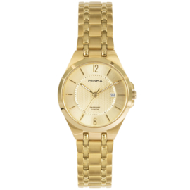 Prisma Goudkleurig Dames Horloge met Schakelband