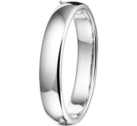 Brede Ovale Buis Bangle armband van Zilver