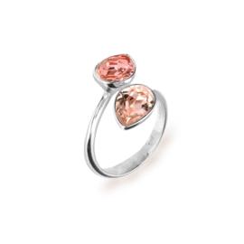 Spark Zilveren Pear Drop Ring met Roze en Rosé Swarovski Kristal
