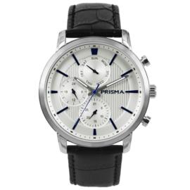Prisma Horloge met Blauwe Elementen P.1580 Heren Edelstaal Multi-functioneel