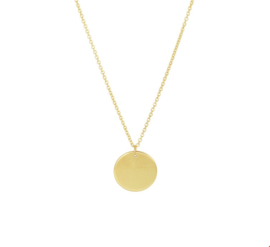 14 Karaats Gouden Collier met Rond Muntje - Signature Coin Ketting