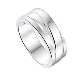 Brede Glanzende Ring met Kleurloze Zirkonia