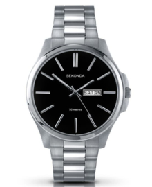 Robuust Sekonda Heren Horloge met Zwarte Wijzerplaat
