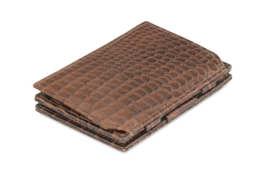 Croco Bruine Magic Coin Wallet Portemonnee van Essenziale Garzini