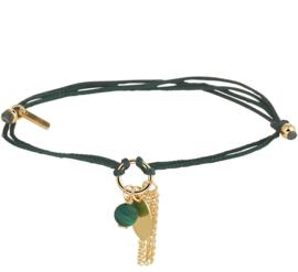 Groene Gevlochten Armband met Gouden Decoraties