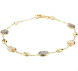 Geelgouden Anker Armband met Goudkleurige en Zwarte Rutiel Kwarts