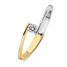 Excellent Jewelry Ring van Witgoud met Geelgoud met Zirkonia