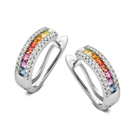 Excellent Jewelry Witgouden Oorringen met Diamanten en Kleurstenen
