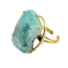 Ring met Lichtblauwe Geode Natuursteen van Sujasa