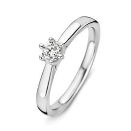 Excellent Jewelry Slanke Witgouden Dames Ring met 0,24 crt. Diamant