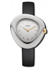 Zilverkleurig Pebble Dames Horloge met zwart Lederen Band van M&M