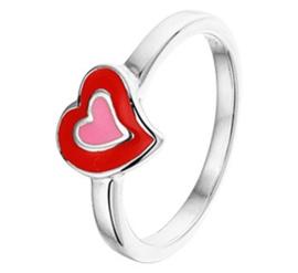Zilveren Ring voor Kinderen met Rood Emaille Hart