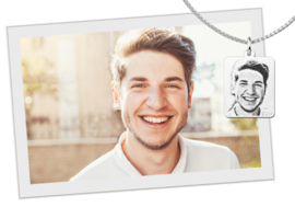 Mini Zilveren Dog Tag Fotogravure Hanger van Names4ever