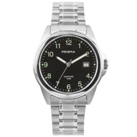 Zilverkleurig Heren Horloge met Zwarte Wijzerplaat en Cijfers
