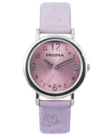 Butterfly Roze Meisjes Horloge met Paarse Lederen Horlogeband