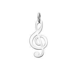 Muzieksleutel Hanger van Gerhodineerd Zilver