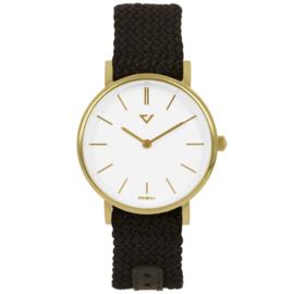 Prisma Slimline Dames Horloge met Bruine Nylon Band