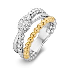 Excellent Jewelry Zilver met Gouden Bolletjes Ring met Zirkonia's