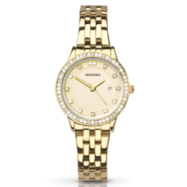 Goudkleurig Dames Horloge met Sierdiamanten - SALE