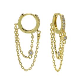 Goudkleurige Oorhangers met Kettinkje | Karma Jewelry