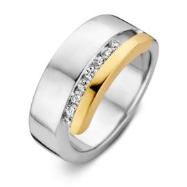 Excellent Jewelry Zilveren Ring met Gouden Rand en Zirkonia's