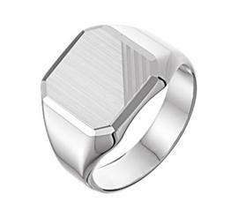 Graveer Ring voor Jongens van Zilver met Gediamanteerde Achthoek