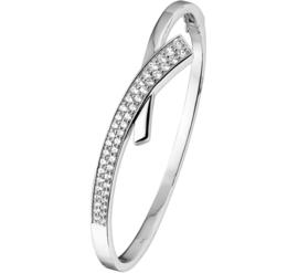 Vlakke Bangle armband van Zilver met Zirkonia's