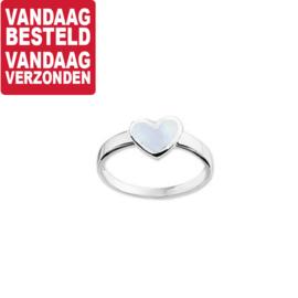 Ring voor Kinderen met Lichtblauwe Parelmoer / Maat 14
