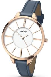 Sekonda Roségoudkleurig Dames Horloge met Blauwe Band