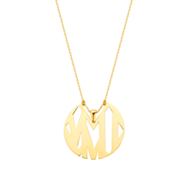 Super Stylish Goudkleurige Abstracte Munt Hanger met Ketting