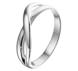 Zilveren Ring met Overlappende Strook met Rhodium