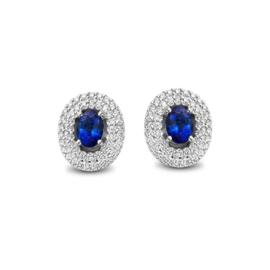 Excellent Jewelry Ovaalvormige Oorstekers met Diamanten en Saffier