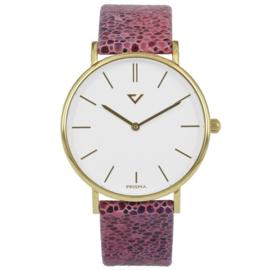 Prisma Goudkleurig Heren Horloge met Roze Vacht Horlogeband