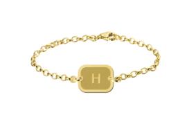 Names4ever Gouden Armband met Geronde Rechthoekige Letterhanger