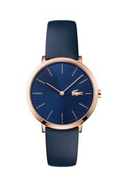 Lacoste Roségoudkleurig Dames Horloge met Blauw Lederen Horlogeband