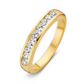 Excellent Jewelry Geelgouden Dames Ring met Kleurloze Zirkonia's