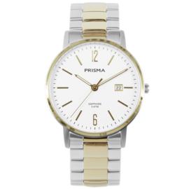 Goudkleurig Edelstalen Heren Horloge met Witte Wijzerplaat