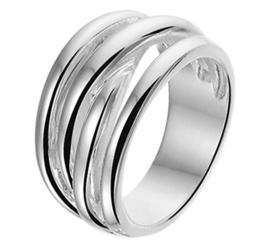 Ring van Gerhodineerd Zilver met Vier Stroken Voorkant