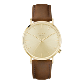 Goudkleurig KANE Horloge met Bruine Lederen Horlogeband