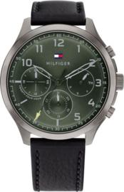 Tommy Hilfiger Zilverkleurig Heren Horloge met Groene Wijzerplaat