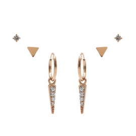 Karma Jewelry – Zesdelige Triangle Earparty Set - Rosé