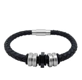 XS4M Zwart Leren Armband met Robuuste Bedels