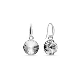 Spark Candy Zilveren Oorhangers met Witte Glaskristallen