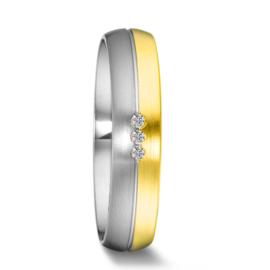 Bolstaande Bicolor Dames Trouwring van Zilver met 9 Karaats en Drie Diamanten