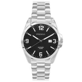 Prisma Edelstalen Heren Horloge met Schakelband en Zwarte Wijzerplaat