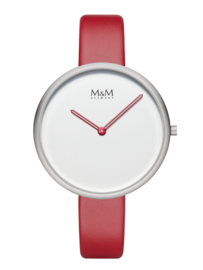 M&M Horloge met Witte Wijzerplaat en Rode Wijzers