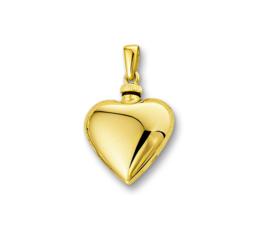 Bolstaande Hartvormige Urn Hanger van Gepolijst Geelgoud
