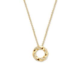 Excellent Jewelry Gouden Collier met Twist Ronde Diamant Hanger